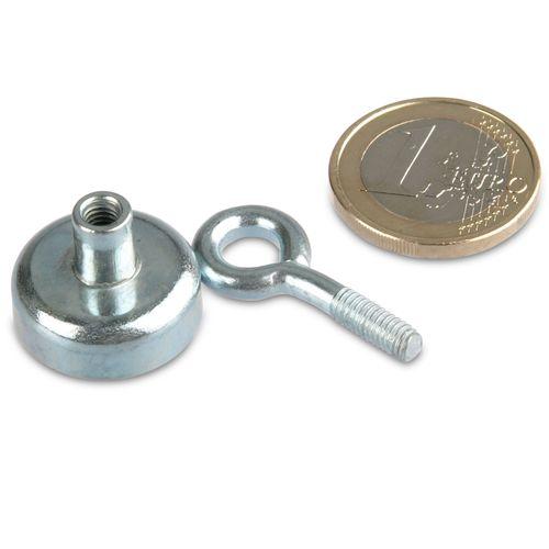 adh Aimant avec oeillet /Ø 25 mm N/éodyme 22 kg Zingu/é