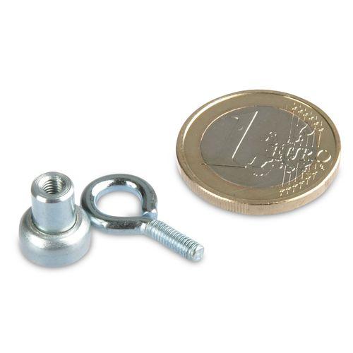 Aimant avec oeillet /Ø 20 mm N/éodyme adh Zingu/é 10 kg